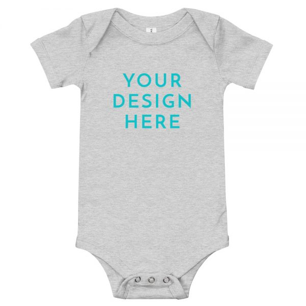 baby short sleeve one piece athletic heather front 60315679717f5