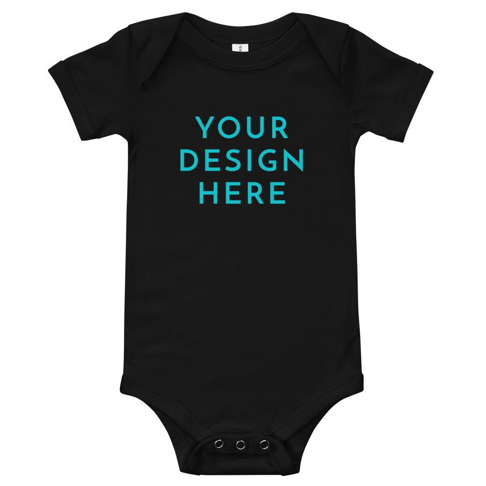 baby short sleeve one piece black front 60315679716ff