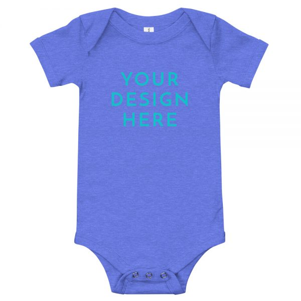 baby short sleeve one piece heather columbia blue front 6031567971787