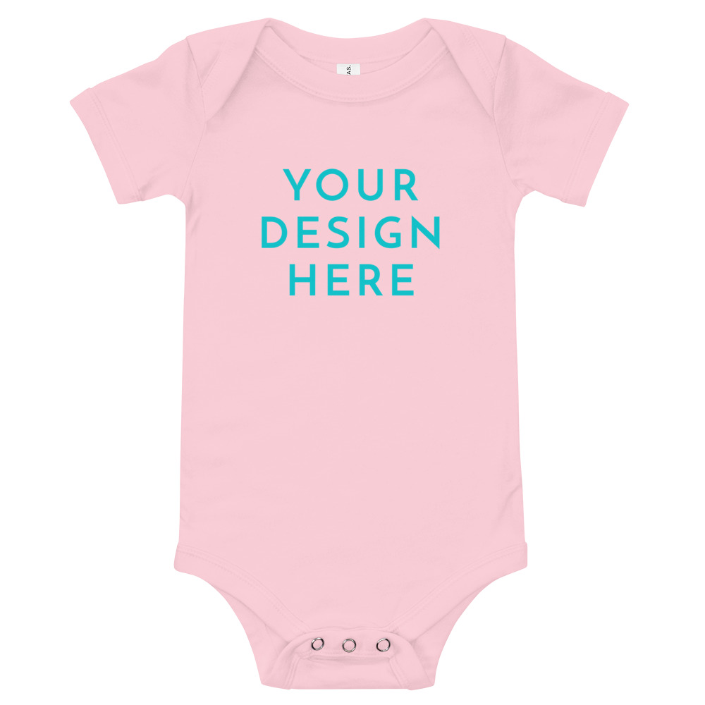 baby short sleeve one piece pink front 603156797187a