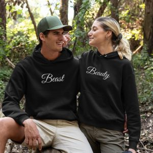beauty and the beast couple hoodies